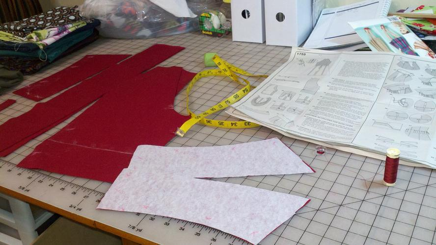 Cut fabric for the sleeves and collar