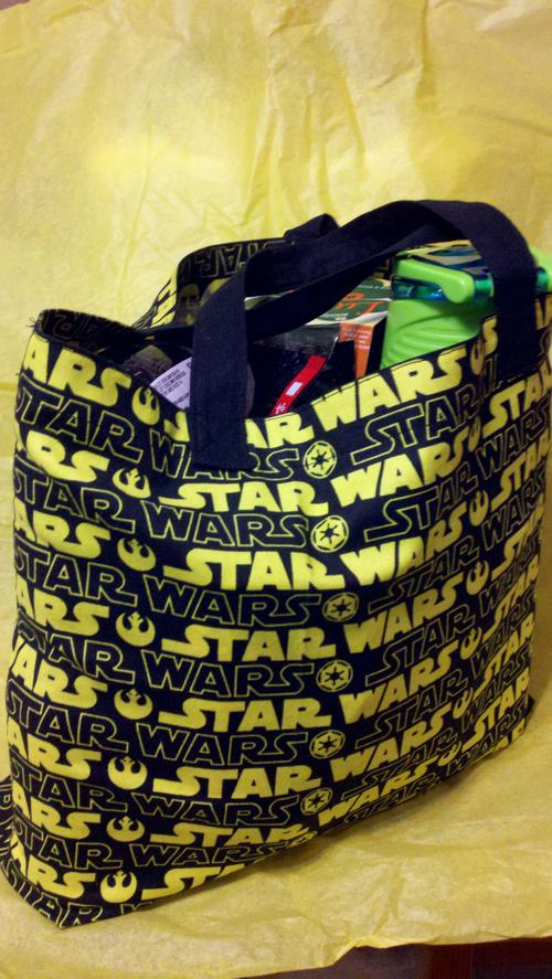 The Star Wars bag filled with goodies