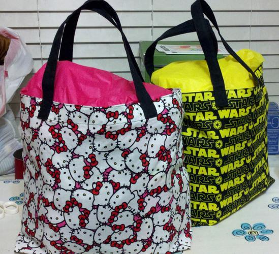 Hello Kitty and Star Wars fabric bags filled with goodies