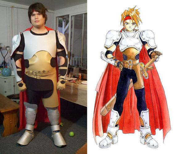 Right: Tristan in an almost finished Cless Alvein costume; Left: Drawing of Cless Alvein